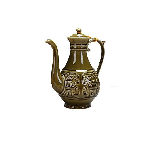 XIAONINGMENGDIAN Chinesischer Wein Weinset Chinesischer Keramik Weißweinkrug Weinzubehör (Color : Brass)