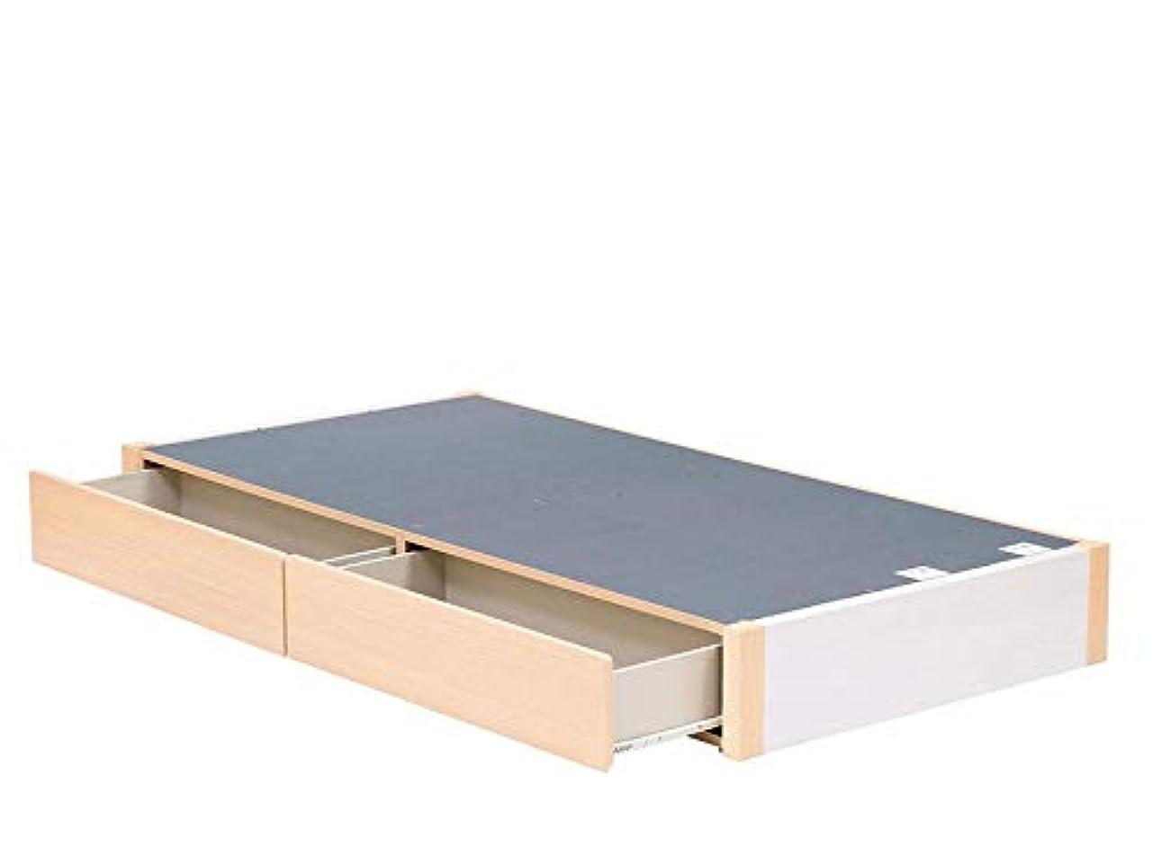 休戦保存質量SENSO01 ヘッドレス 引出し2杯タイプ セミオーダー ベッド シングル ホワイトウォールナット×ナチュラル×ナチュラル