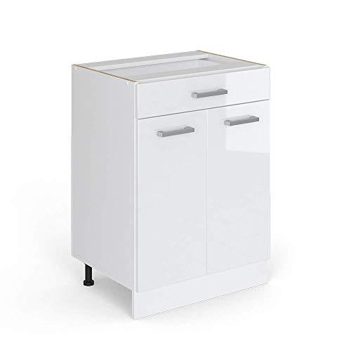 Vicco Küchenschrank R-Line Küchenzeile Hängeschrank Unterschrank Küchenschränke Küchenunterschrank Arbeitsplatte (weiß ohne Arbeitsplatte, Schubunterschrank 60 cm)