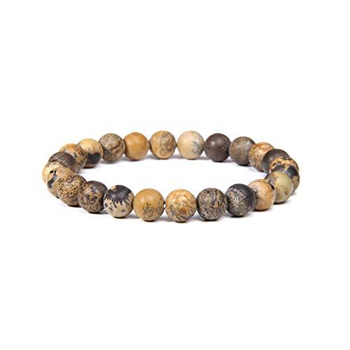 Bracelet Las mujeres cuentas de piedra natural hombres con cuentas muñeca hombres mujeres piedra natural apilable Mala joyería-piel de leopardo 21cm
