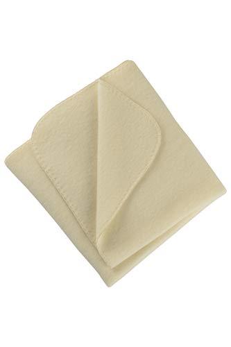 Engel Natur, Baby Fleece Decke mit Muschelkante, 100% Wolle (kbT) (80x100 cm, Natur)