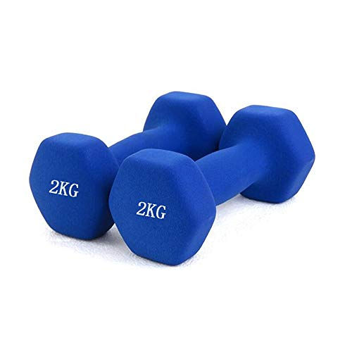 HY-MS Neoprene Dumbbell Weight Pair, Strength Building Hand Weights Dumbbells for Muscle 1/1.5/2/3 KG, Non-Slip Neoprene Hand, All-Purpose, Home, Gym, Office (2KG, Matte Blue)