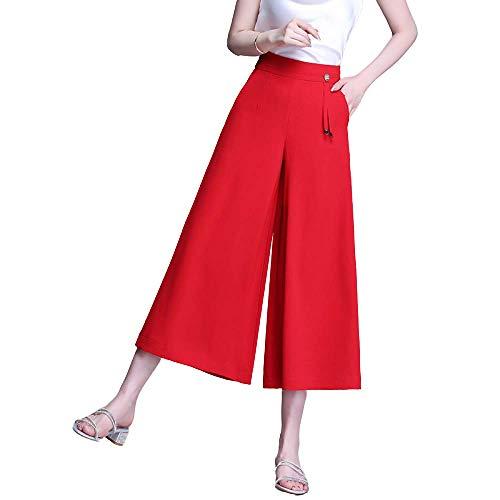 Pantalones de Falda de algodón y Lino Transpirables de Verano para Mujer Pantalones Casuales de Cintura Alta de Nueve Puntos de Talla Grande