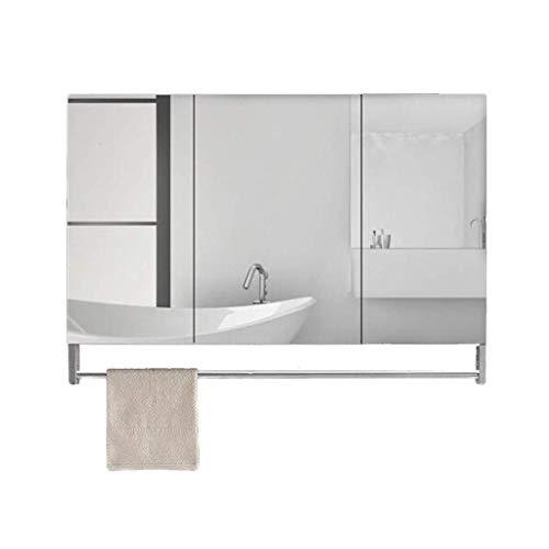 KMMK Espejo de pared, gabinetes con espejo, aleación de aluminio, acero inoxidable, baño con barra de toalla, tocador de baño, almacenamiento,Plata,80 * 70cm