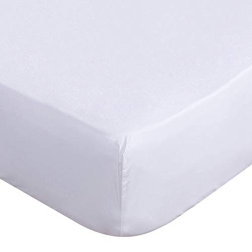 Lux Decor King Sábana bajera ajustable de microfibra cepillada de 1800 hilos, bolsillo de hasta 16 pulgadas de profundidad – arrugas, decoloración, resistente al encogimiento, hipoalergénico – 1 sábana bajera (blanca, King)