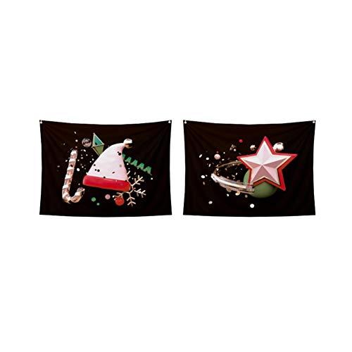 2pcs Tapiz de Navidad de poliéster de Navidad del Sombrero de Santa diseño de la Estrella Colgar de la Pared...