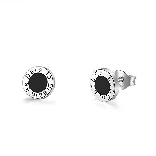 """BDD CO. Black Stud Earrings, """"Be Dare to Dream"""", Women 925 Sterling Silver Earrings, Original Design Earrings, Enamel Craft Earrings"""