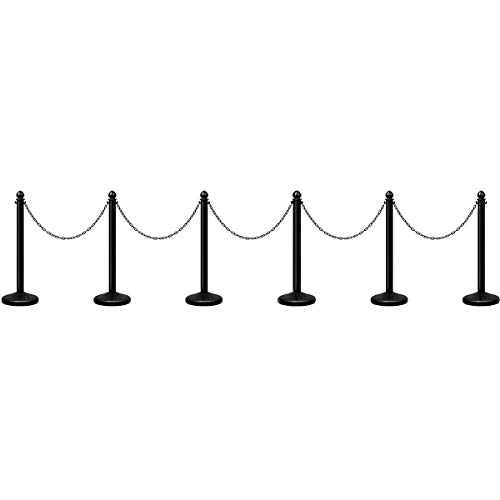 """Goplus 6pcs Plastic Stanchion Set, Safety Stanchion Barrier Posts Queue Line Pole with 40"""" Link Chain & C-Hooks, Outdoor and Indoor Crowd Control Barriers, Easy Connect Assembly"""