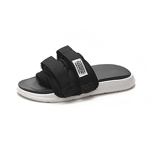 Yumanluo Chanclas Hombre Verano Zapatillas Flip Flops Sandal Zapatos de Playa y Piscina,Zapatillas Pareja Sandalias-Negro_45-46