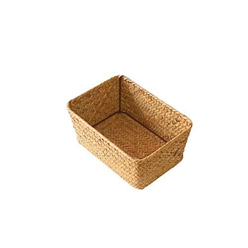 QULONG Plato de Mimbre para Frutas de Cocina, Canasta de Almacenamiento para Alimentos, Pan, artículos Diversos, Caja de Almacenamiento para contenedor de Picnic de ratán