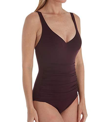Empreinte Women's Body Underwire Ruched One-Piece Swimsuit VP-Body 32E Pourpre