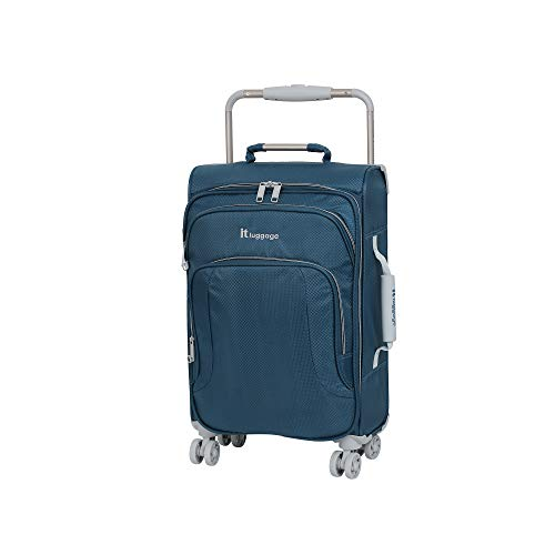IT Luggage 22' World's Lightest 8 Wheel Spinner, Blue Ashes With Vapor Blue Trim, One Size