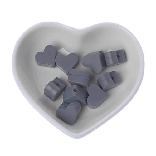LANDUM 10 Morceaux Perles De Silicone Perles De Dentition en Silicone Love Baby Spielzeug DIY Schnullerkette Zubehör - Gris