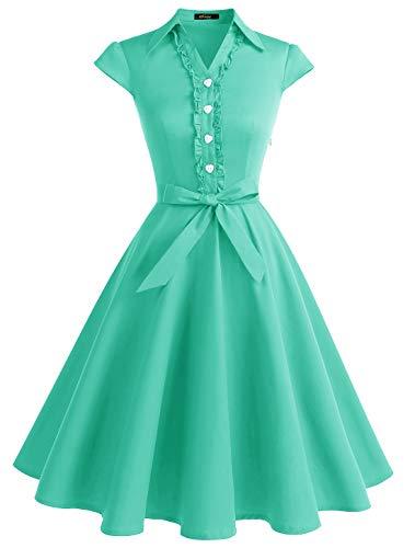 Wedtrend Vestido Vintage Escote V 1950s Cóctel Rockabilly Mujer Vestido Fiesta WTP10007TiffanyBlueXS