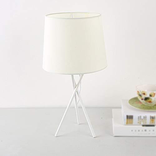 HGFMY Tischlampe Wohnzimmer, Schreibtischlampe Designklassiker, Tischlampe Büro Weiß, Weißer Stofflampenschirm, Ausgefallene Tischlampen, Metall, Tischlampe Led Wohnzimmer