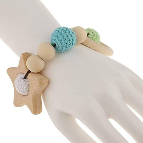 TOOGOO 1 Stk.Perle Beissringe aus Holz Saeugling Rassel Spielzeug Baby Zahnen Zubehoer - Mehrfarbig - Stern