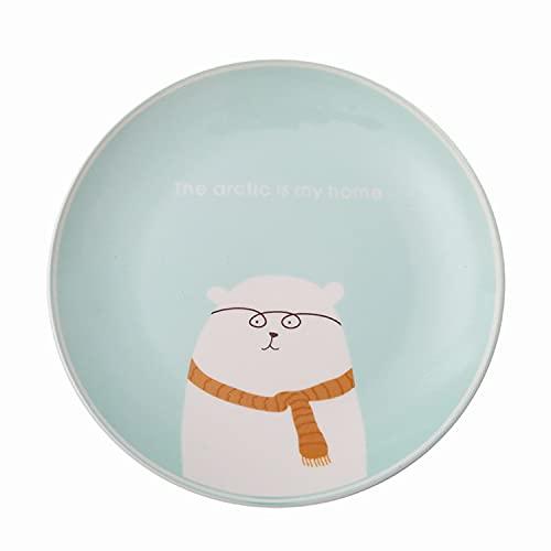Plato vajilla de cerámica plato de dibujos animados para niños plato de carne plato de desayuno pasta comida occidental plato de oso blanco azul claro