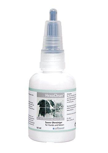HexoClean®50 ml-Inhalt: 50 ml-Ohrreiniger für Hunde und Katzen Saurer Ohrreiniger mit Chlorhexidin und Salicylsäure zur Routinereinigung der Ohren