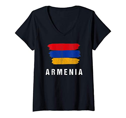 Damen Gemalte Armenien Fahne / Armenia Flagge Fan Geschenk T-Shirt mit V-Ausschnitt