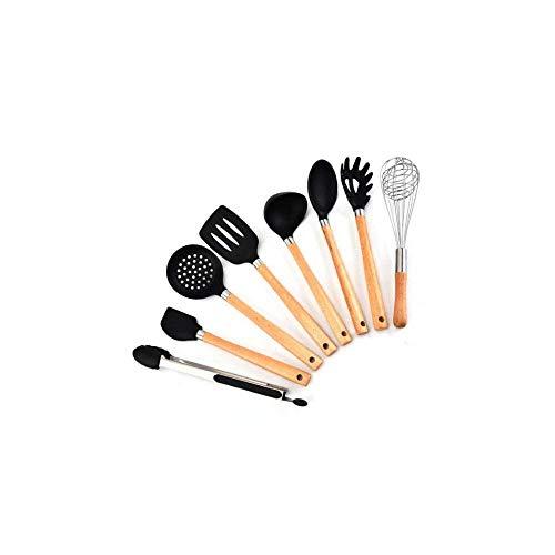 Sólido Conjunto de utensilios de cocina Utensilios de cocción de silicona - 9pcs Cocina Herramientas resistentes al calor de la espátula de la espátula con la manija de madera para los utensilios de c