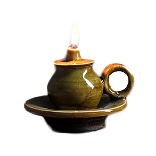 Lámpara de aceite de cerámica vieja, lámpara de queroseno retro, mesa de té zen decorativo Buda luz larga aceite de lamparas Buddha (Color : Green)