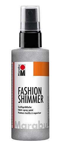 Marabu 17180050581 - Fashion Shimmer silber 100 ml, Textilsprühfarbe auf Wasserbasis, für dunkle Textilien und Stoffe, einfache Fixierung, waschbeständig bis 40°C, geeignet zum Schablonieren