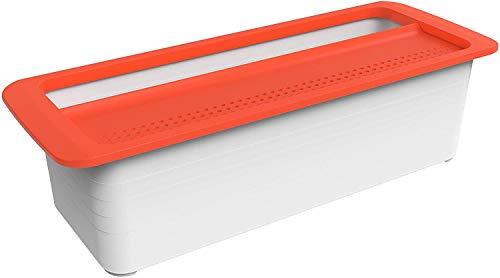 Rotho Memory Microwave Pastakocher 1,8l mit Deckel für die Mikrowelle, Kunststoff (PP) BPA-frei, rot/weiss, 1,8l (29,7 x 11,3 x 8,3 cm)