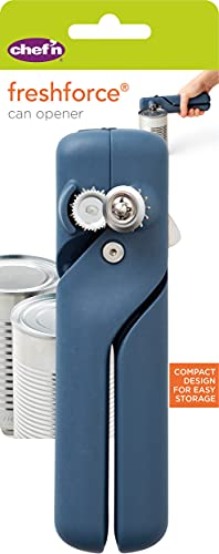 Chef'n FreshForce Compact Can Opener, Durable Stainless Steel Space Saving Tin Opener, Blue, 18.5 cm