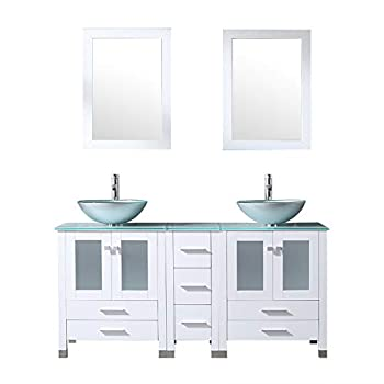 Walcut 60Inch White Bathroom Vanity with Sink Combo Solid MDF Cabinet with Silver Green Double Glass Vessel Countertop Sink and Faucet + Pop Up Drain Combo Double Mirror 60