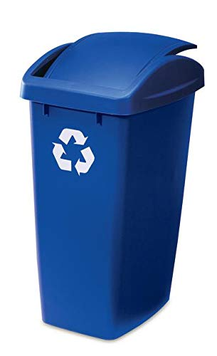 Rubbermaid 1799218 12.5G Swing Top Recycling Bin Trash Can, Blue Indiana