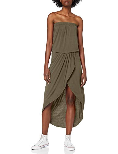 Urban Classics TB1508 Damen Kleid Ladies Viscose Bandeau Dress, Midi, Gr. Small, Grün (olive 176)