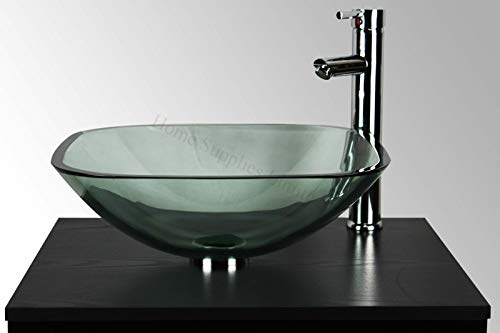 BATHROOM CLOAKROOM COUNTERTOP CLEAR GLASS SQUARE BOWL BASIN SINK + TAP + POP UP WASTE + CHROME BOTTLE TRAP by Home Supplies