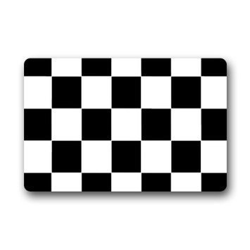 YOOSANG Custom Schwarz Weiß Kariert Muster Rutschfeste Fußmatte Fußboden Decor Matte Rug- Stärke 76,2cm (L) X 45,7cm (W)