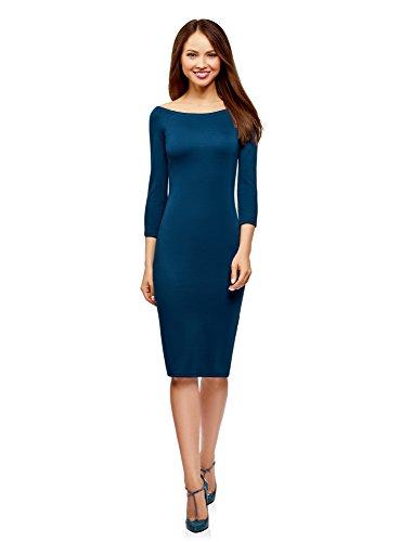 oodji Ultra Damen Enges Kleid mit U-Boot-Ausschnitt, Blau, DE 40 / EU 42 / L