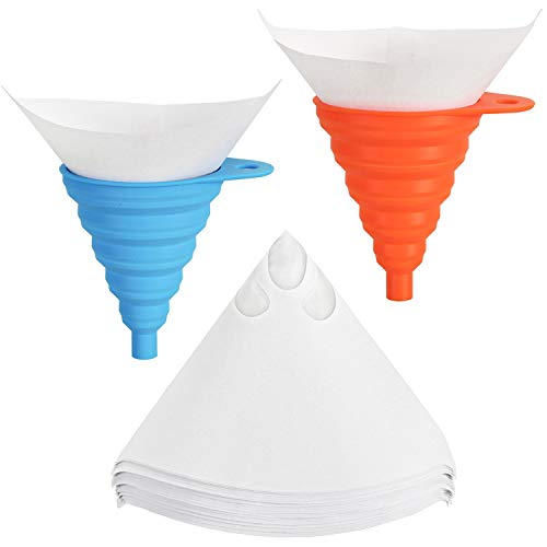 Hedume 200 Pieces Paint Strainers, Cone Paint Filter Screen with 2 Pack Silicone Funnel Filter, Cone Shaped Fine Nylon Mesh Funnel