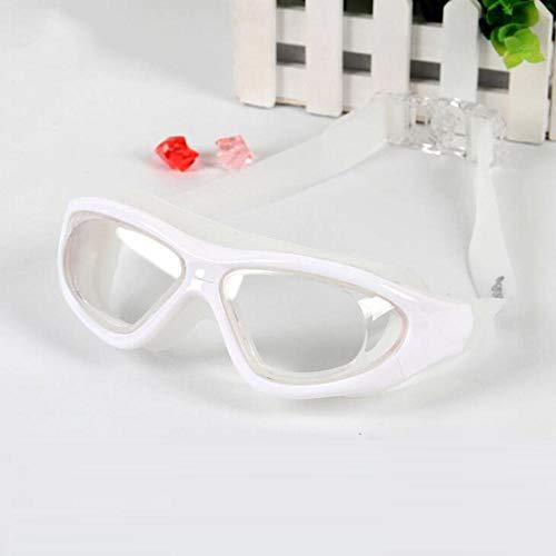 XHSSF Miopia occhialini Nuoto Graduati Miopia Occhialini Piscina Occhialini da Nuoto Anti-Appannamento Protezione UV Occhiali da Nuoto per Adulti Donna Uomo Silicone Morbido-Bianco_-350