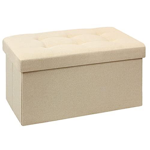 BRIAN & DANY Pouf Coffre de Rangement Boîte Tabouret Pliant Banc Pouf de Pliable Tissu en Lin, 76 x 38 x 38 cm, Beige