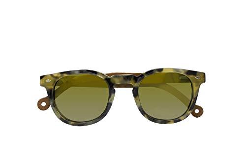 Parafina - Gafas de Sol Polarizadas para Hombre y Mujer - Gafas de Sol Redondas Anti-reflejantes Tortoise - Lentes Verdes