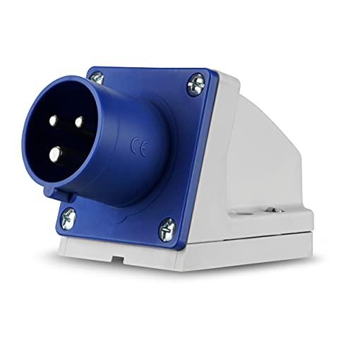 REV 0510615555 Caravan, CEE-Stecker Wand 230V, 3-polig, 1Ph + N+ PE, IP44, blau