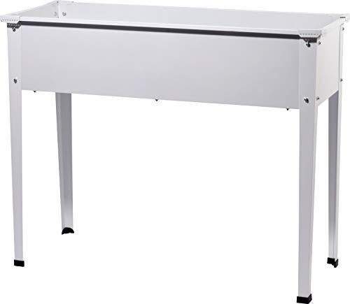 Rechteckiges Tischbeet Stalk aus verzinktem Stahl, robustes Hochbeet für den Garten, 100 x 40 x 80 cm, weiß