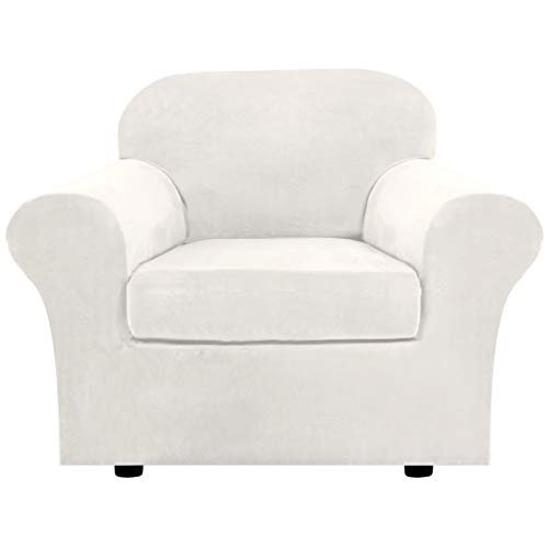 Rich Velvet Stretch 2 Piece Chair Cover Chair Slipcover Sofa Cover Furniture Protector Couch Soft with Elastic Bottom Chair Couch Cover with Arms, Machine Washable(Chair,Ivory)