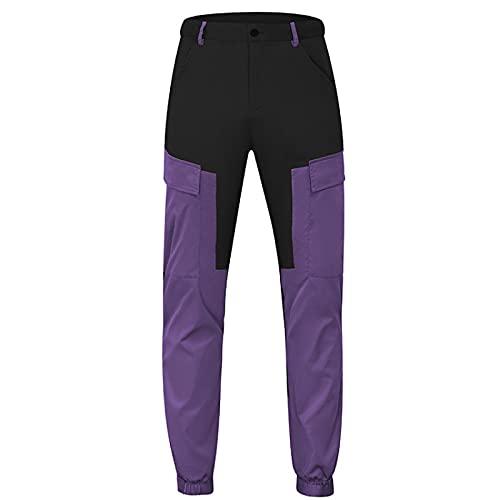 Pantalones Cargo para Hombre Otoño de Dos Colores Costura Diseño multibolsillo Pantalones Cargo Rectos Sueltos Adecuado para Acampar y Caminar S