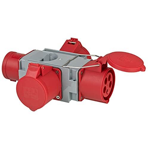 Brennenstuhl distribuidor de corriente con adaptador CEE para alta tensión IP44 (1x enchufe CEE 400V/32A y 3x tomas CEE 400V/32A, para el uso en obras, distribuidor CEE transversal)