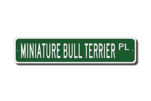 qidushop Miniatur-Bullterrier Bullterrier Miniatur Bullterrier Liebhaber Miniatur Bullterrier Schild Straßenschild Hunde-Liebhaber Outdoor Schild Geschenk Lustiges Metall Blechschild Wandkunst Deko