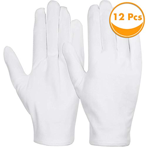 White Cotton Gloves, Anezus 6 Pairs Cotton Gloves Large Cloth Gloves for Women Dry Hands Eczema Moisturizing Serving Archival Cleaning Coin Jewelry Silver Costume Inspection
