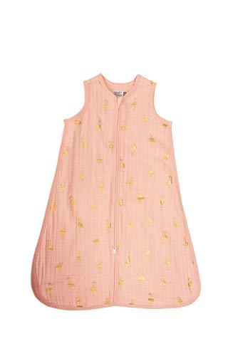 Bizzi Growin Mooie Roze & Goud Flamingo 0.5 tog Baby Muslin Slaapzak - 0-6 mths