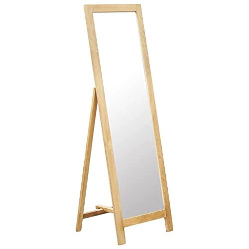 vidaXL Bois de Chêne Solide Miroir sur Pied Rectangulaire avec Cadre Miroir de Vestiaire Chambre à Coucher Intérieure Salle de Bain Maison