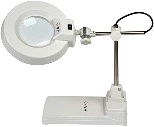 Wxxdlooa Loep Vergrootbaar desktop-vergrootglas 10X Appreciation Loep LED tafellamp Loep optisch wit glazen lens inslagloep