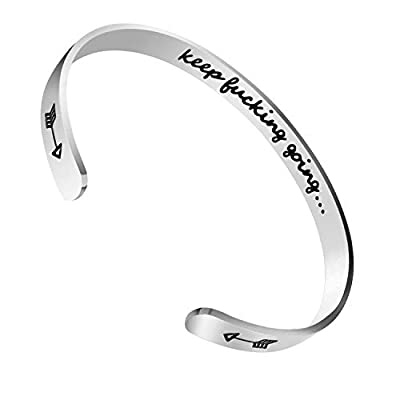 CNNIK Inspirational Bangles for Women Men Girls Boys, Inner Engraved Keep Fucking Going Stainless Steel Charm Cuff Bracelet, for Birthday, Graduation and Anniversary