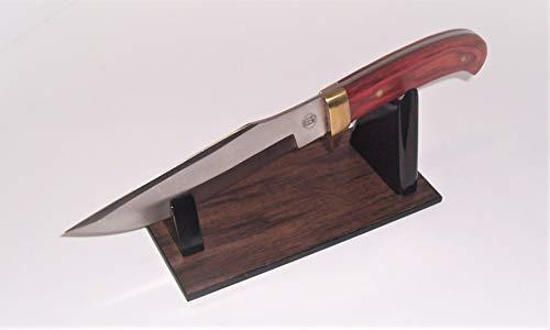 "Large Fixed Blade Knife Display Stand. ""Dark Hickory"" Melamine Woodgrain Base / Gloss"